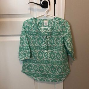 Girls J. Crew mint and white print button down 4-5